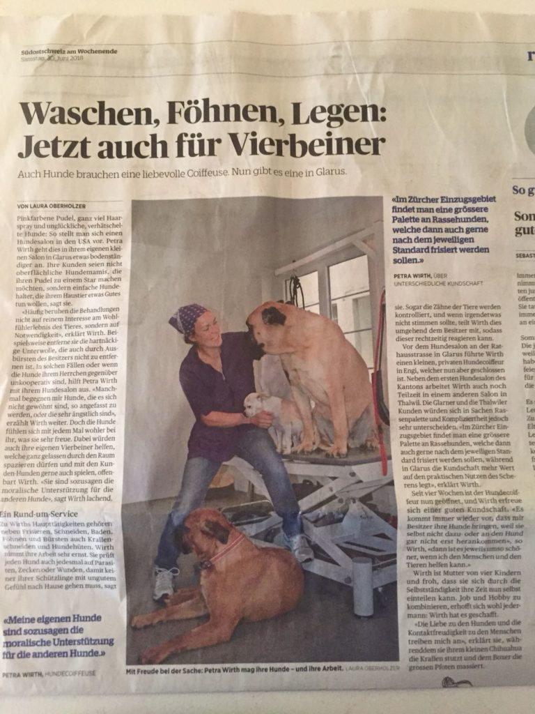 Zeitungsartikel_Suedostschweiz_Hundesalon_Pudelnass